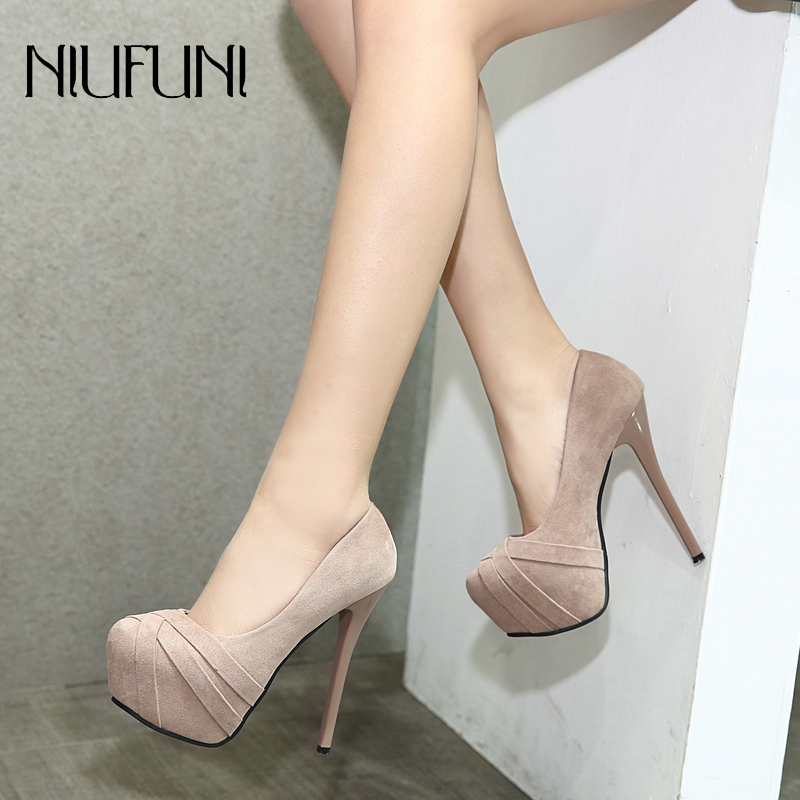 Sexy High Heels Platform Pumps Shoes Women Suede Thin Heels Office Shoes New Arrival Woman Pumps Fashion Women's Round Toe Shoes