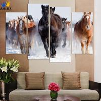 Oprawione 4 sztuk Wysokiej Jakości Tanie Art Zdjęcia Prowadzenie Konia duża HD Modern Home Dekoracje Ścienne Streszczenie Olej Na Płótnie malarstwo