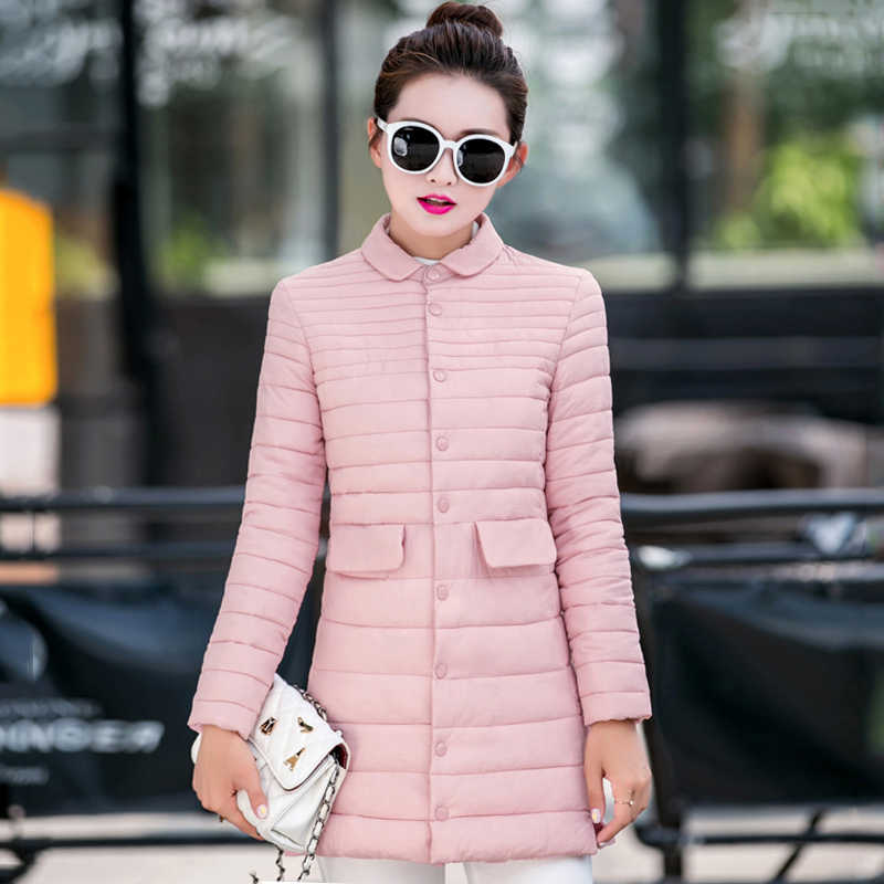 2019 новый дизайн отложной воротник Для женщин зима-осень Куртка однобортный, украшенные пуговицами верхняя одежда узкое пальто Длинная парка одноцветное