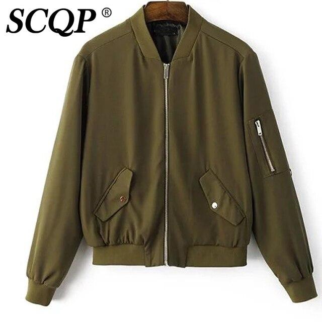 Solid Black Zipper Women Bomber Jacket Fashion Pockets Women Coats