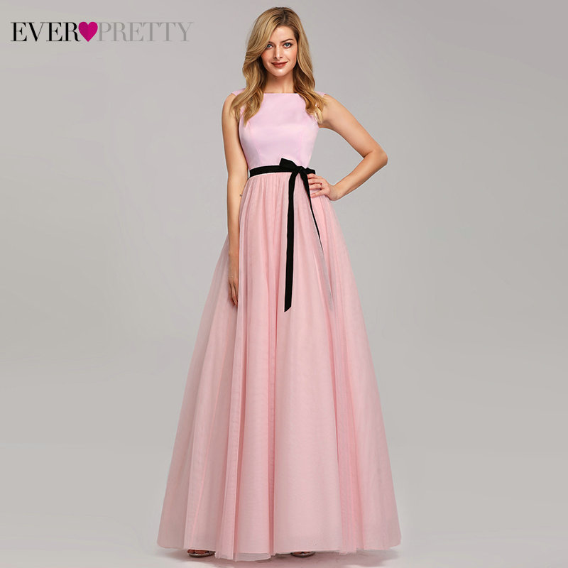 Pink   Bridesmaid     Dresses   Ever Pretty A-Line O-Neck Sleeveless Tulle Women   Dresses   For Wedding Party Robe Demoiselle D'honneur
