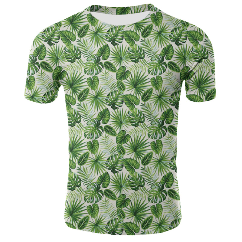 2019 Mens Casual Maple Leaf Print Short Sleeve T-Shirt Tops Beach Hawaiian Style Quick Dry Blouse Tee Shirt
