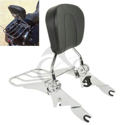 New Detachable Backrest Sissy Bar & Luggage Rack For Harley Touring 2009-2017 Electra Street Road Glide FLHR FLHT FLHX FLTR chrome motorcycle two up tour pak luggage rack rail case for harley touring flhr flht flhx fltr 2009 2017