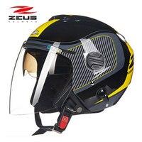 ZEUS 202FB Otwarta twarz kask motocyklowy, darmowa wysyłka, wymienny zmywalny sprawdzić klocki, wewnętrzna i zewnętrzna osłona przeciwsłoneczna, ECE zatwierdzony