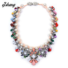 2016 New Fashion Luxury Brand Necklaces Pendants Shourouk Pearl Jewelry Flower Statement Necklace Choker Collar For
