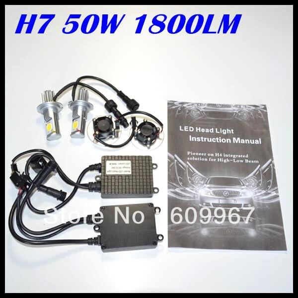 NEW product LED Headlight 50w Super Bright 50W 1800LM H7 led headlight CREE chips CXA1512 chips Car Auto Headlight Free shipping