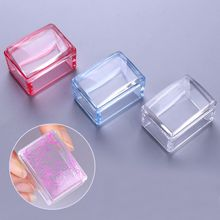 1 Pc Red Blue Clear Handle Rectangle Nail Stamper Silicone Jelly Head with Scraper Nail Art Tool