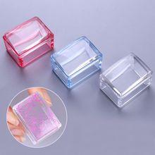 1 Pc Rood Blauw Handvat Rechthoek Nail Stamper Siliconen Jelly Head Met Schraper Nail Art Tool