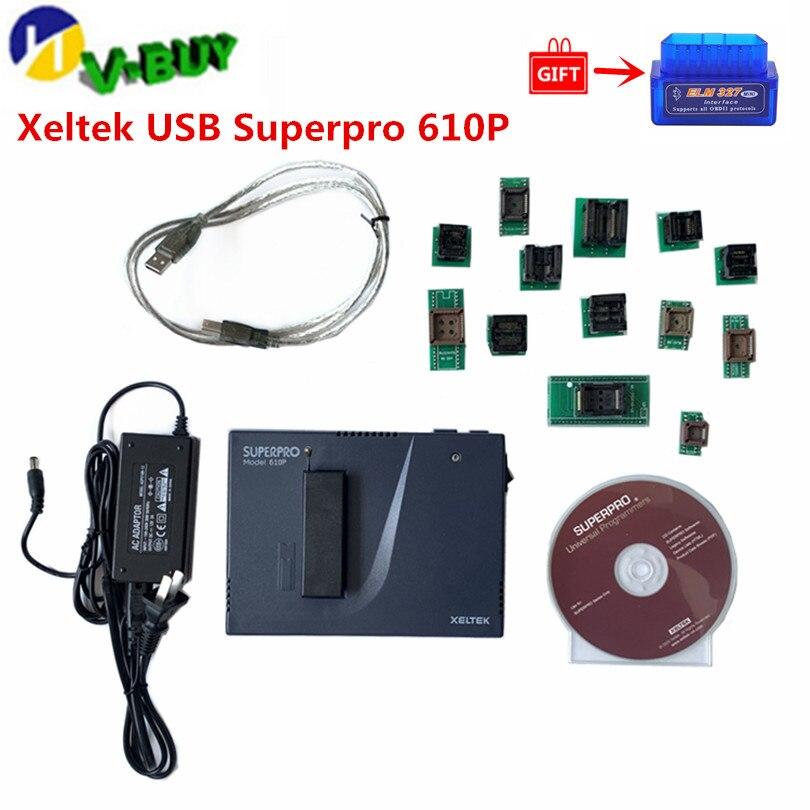 Xeltek USB Superpro 610 P avec 13 Adaptateurs Programmeur Universel IC Programmeur 13 pièces Brûler Bloc Adaptateurs