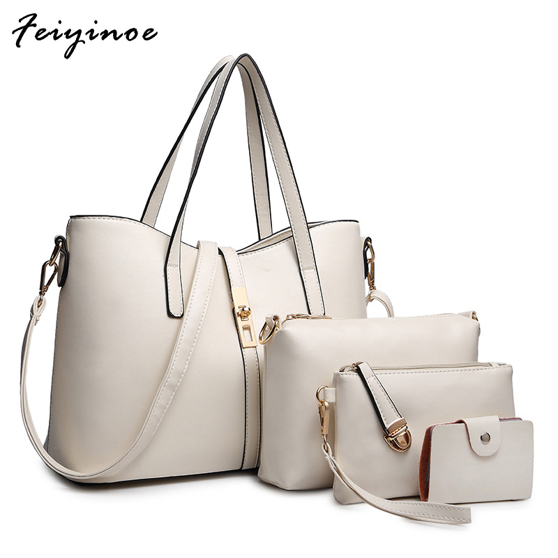 Women leather bag Europe fashion three-piece set of shoulder diagonal package qiaobao women general genuine leather handbags tide europe fashion first layer of cowhide women bag hand diagonal cross package