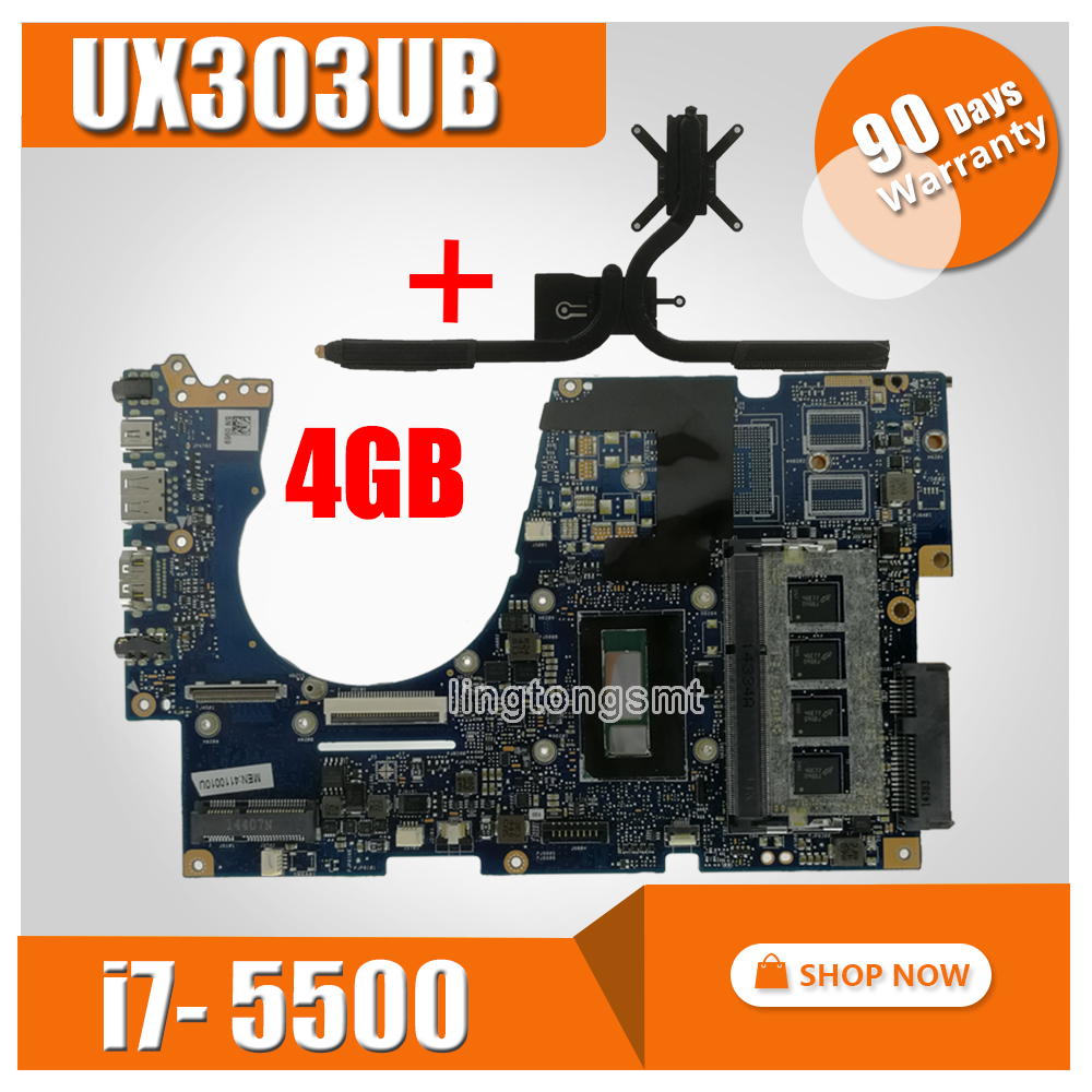 send heatsink UX303UA Motherboard 4GB RAM I5 5200 CPU For ASUS UX303UA UX303U UX303UB Laptop motherboard UX303UA Mainboard-in Motherboards from Computer & Office    1