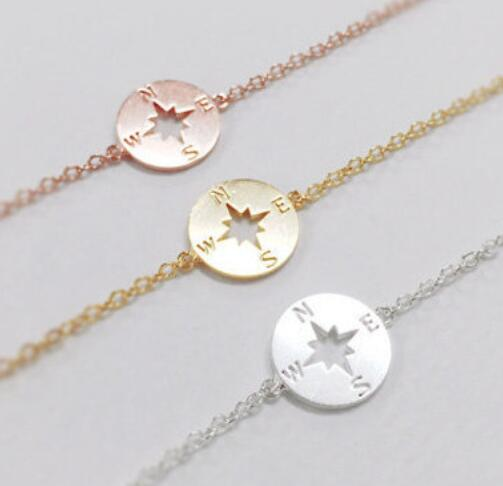 2016 Friend ship Graduation metal Compass girl party Gifts Vintage Gold Bracelets Women fashion jewelry Hand Accessories
