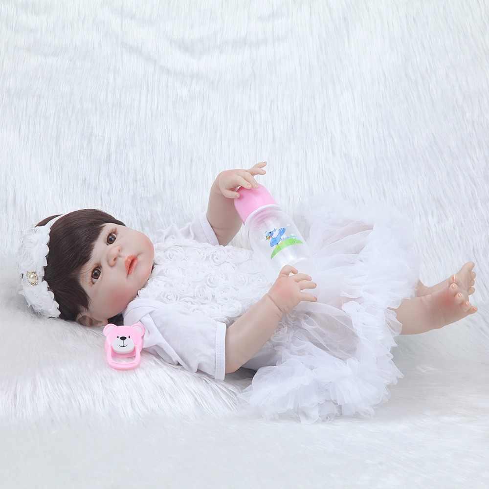 """23 """"سيليكون الطفل تولد من جديد دمية على شكل أميرة نابض بالحياة دمية مع فستان أبيض الطفل حوض الاستحمام دش ألعاب النوم"""