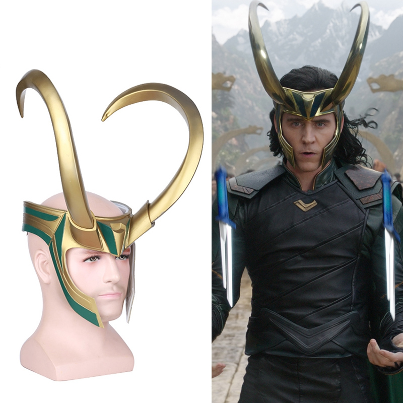 2017 Movie Thor 3 Ragnarok Loki Laufeyson Cosplay Mask Helmet Halloween Props Party Fancy Dress Ball PVC