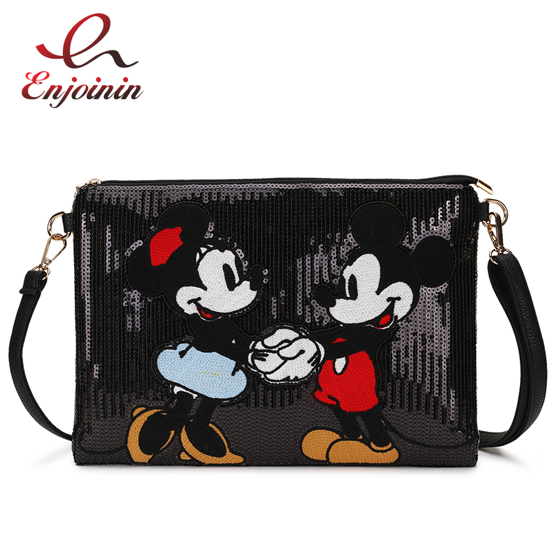 Cartoon Design Sequin Stitching Pu Young Girl's Daily Clutch Bag Envelope Crossbody Messenger Bag For Women Shoulder Bag Handbag