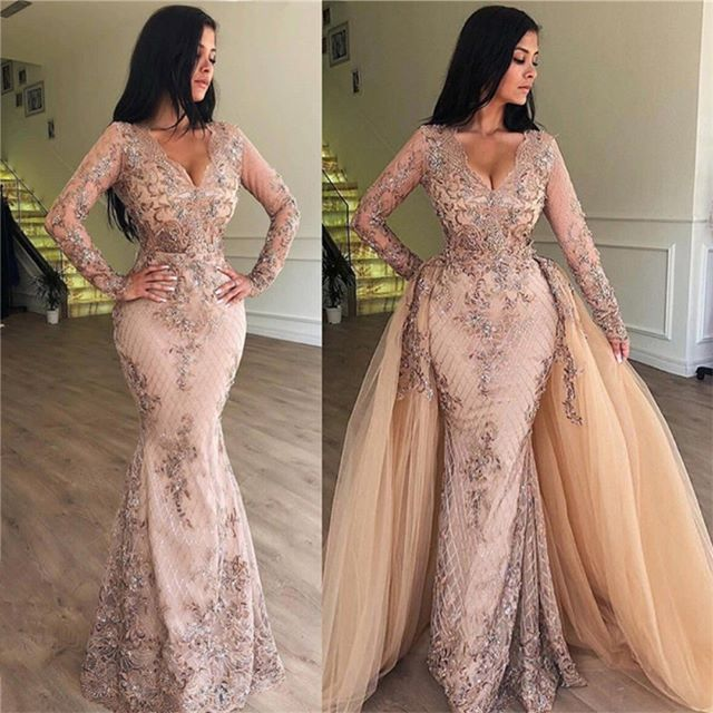 New Elegant Long Evening Dress 2019 V Neck Long Sleeves A Line Floor Length Beading Tulle Formal Dress Party Gowns Vestidos in Evening Dresses from Weddings Events