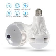 360 Wireless Panoramic Video Camaras Seguridad Casa WiFi Oculta IP Kamera VR Fisheye Bulb Lamp Baby Monitor HD Surveillance Cam