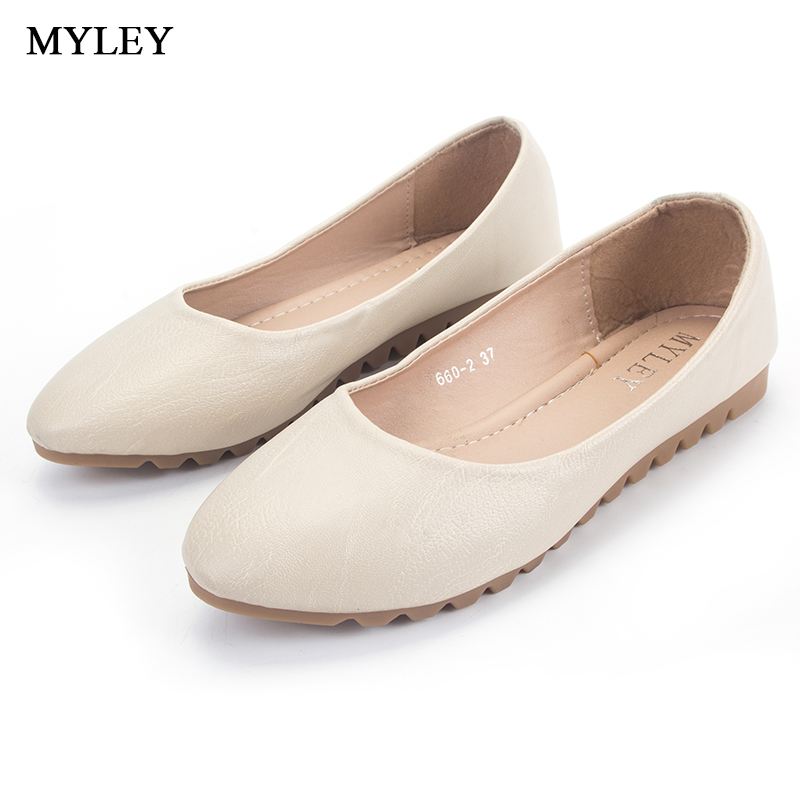 MYLEY Womens Round Toe Flats Shoes Ladies Office Solid Boat Shoes Slip-On Low Heel Black Apricot Shallow Mouth Casual Footwear 2017 summer new fashion sexy lace ladies flats shoes womens pointed toe shallow flats shoes black slip on casual loafers t033109