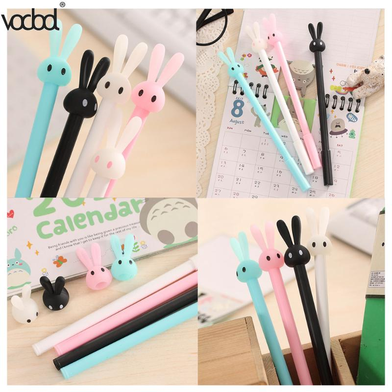 VODOOL Cute Cartoon Rabbit Ballpoint Pen Kawaii Gel Ball Pens School Supplies Stationery Creative Ink Pen For School Stationery free shipping 2014 original dura ace 9000 2 11 speed mtb road bike groutset top level bicycle derailleur 8 piece set