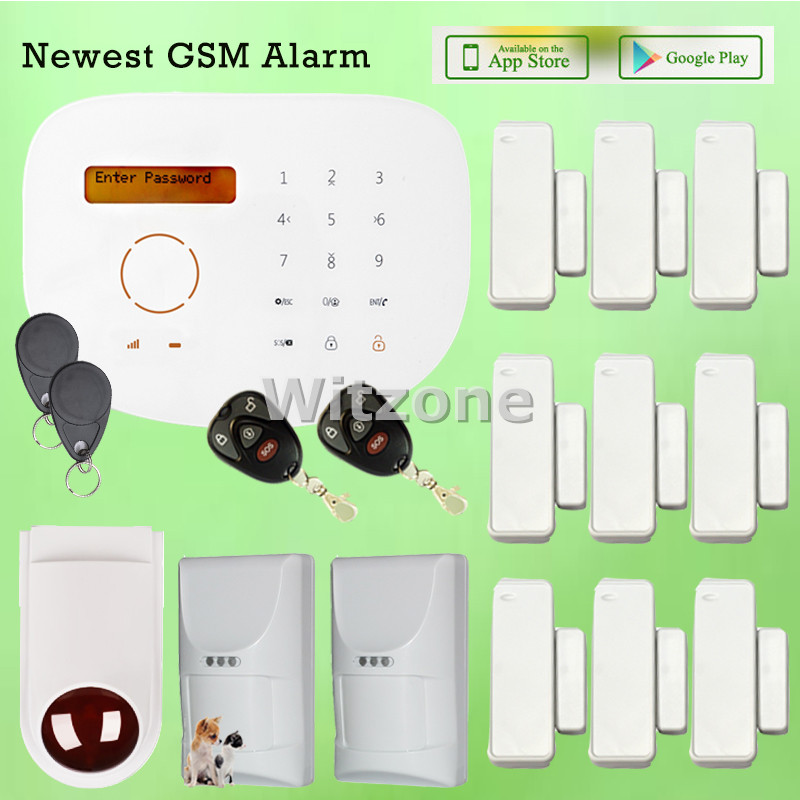 Touchpad LCD Display RFID GSM Alarm System Kit with Pet Friendly PIR Motion Detector and Outdoor Flash Siren, Free Shipping nice design pet friendly pir motion detector with 433mhz works with x9 wifi gsm alarm system