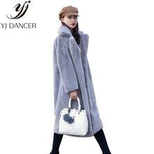 Зимняя модная Новая высококачественная шуба из кроличьего меха, бархатная шуба, длинная шуба, Женская свободная Толстая теплая шуба из меха норки H0171