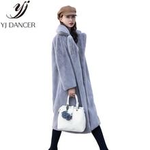 2018 осень и зима мода новый имитация бархат Шуба с длинным разрезом из меха женская Свободная куртка толстые теплые H0171