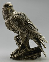 Collectible Decorated Old Handwork Tibet Silver Carve Eagle On Tree Statue & Box