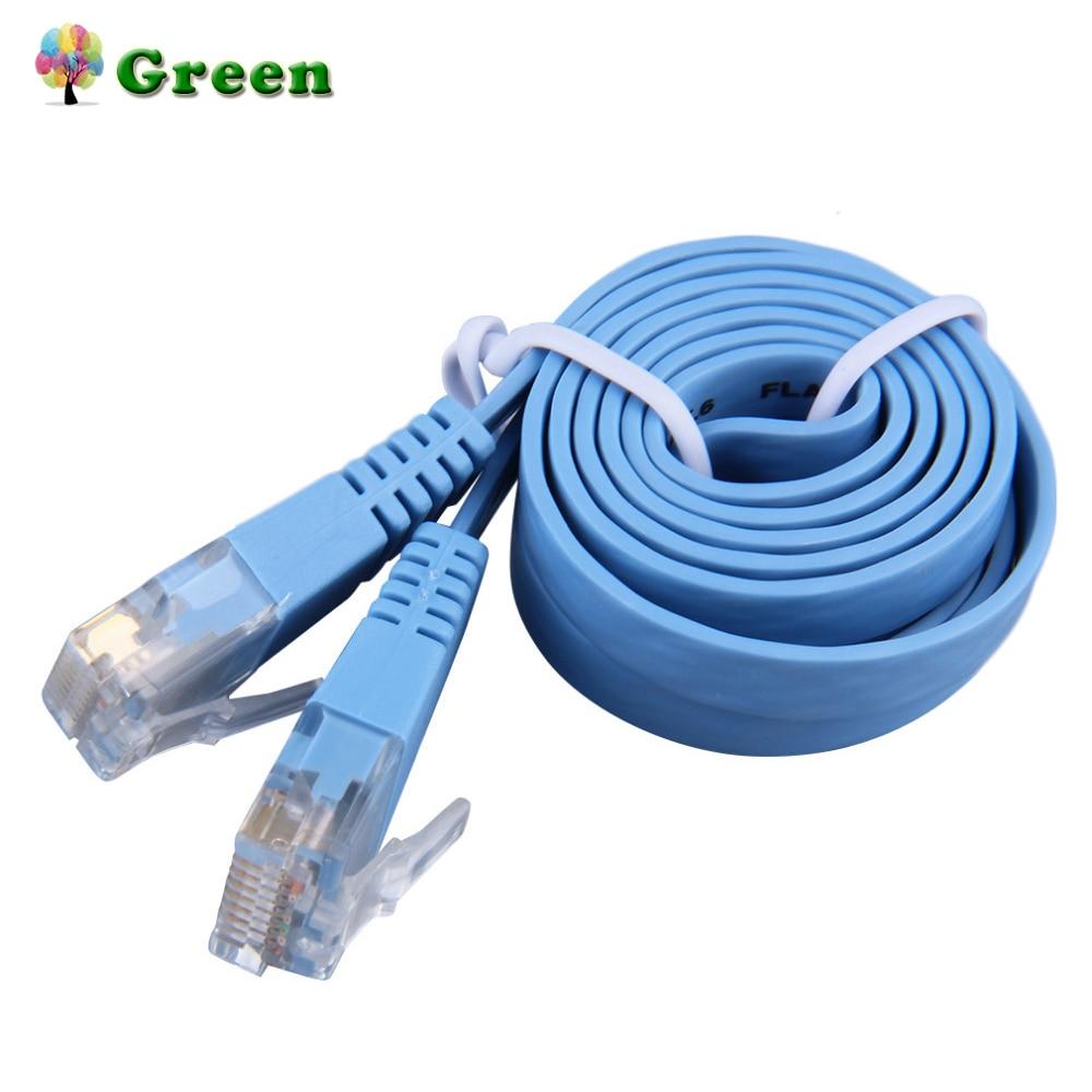 RJ45 CAT6 8P8C Flat Ethernet Patch Network Lan Cable Various Length 0.5M/1M/2M/3M/5M/10M Cable Blue Drop Shipping