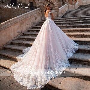 Image 2 - Ashley Carol Chữ A Áo Cưới 2020 Đầm Ren Công Chúa Lệch Vai Pha Lê Appliques Người Yêu Cô Dâu Đồ Bầu Đầm Vestido De Noiva