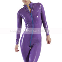 Front ZIp Purple Rubber Latex Women Bodysuit Female Catsuit with Socks Handmade S LC249