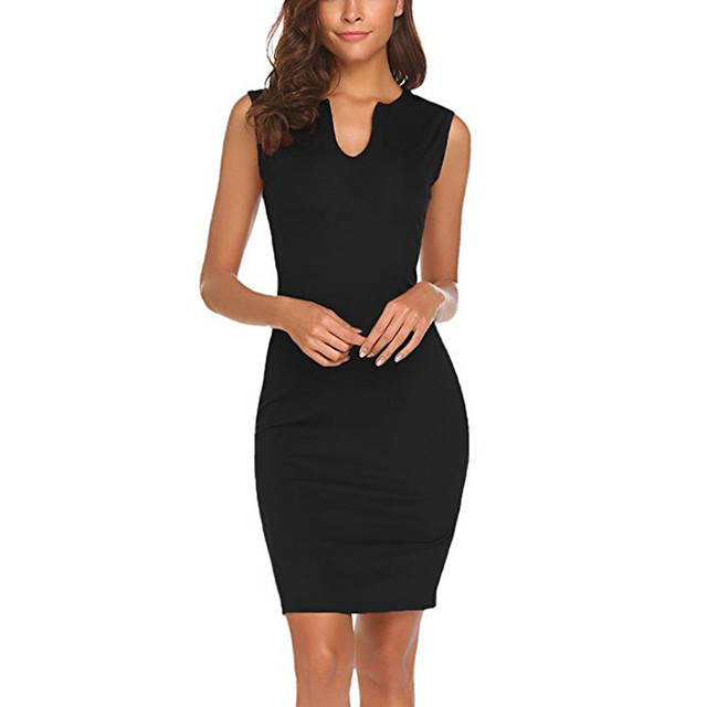 Summer Dress Women Clothes 2018Wear to Work Office Sleeveless V Neck Bodycon Pencil Dresses Beach Sundress vestidos