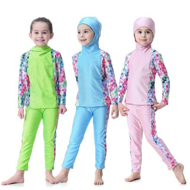 6d652f8234d92 Islamic Kids Swimming Suits Print Muslim Girls Swimwear Modest Beach Wear  Bathing Suit Children Traditional Arab Swimming Hijab
