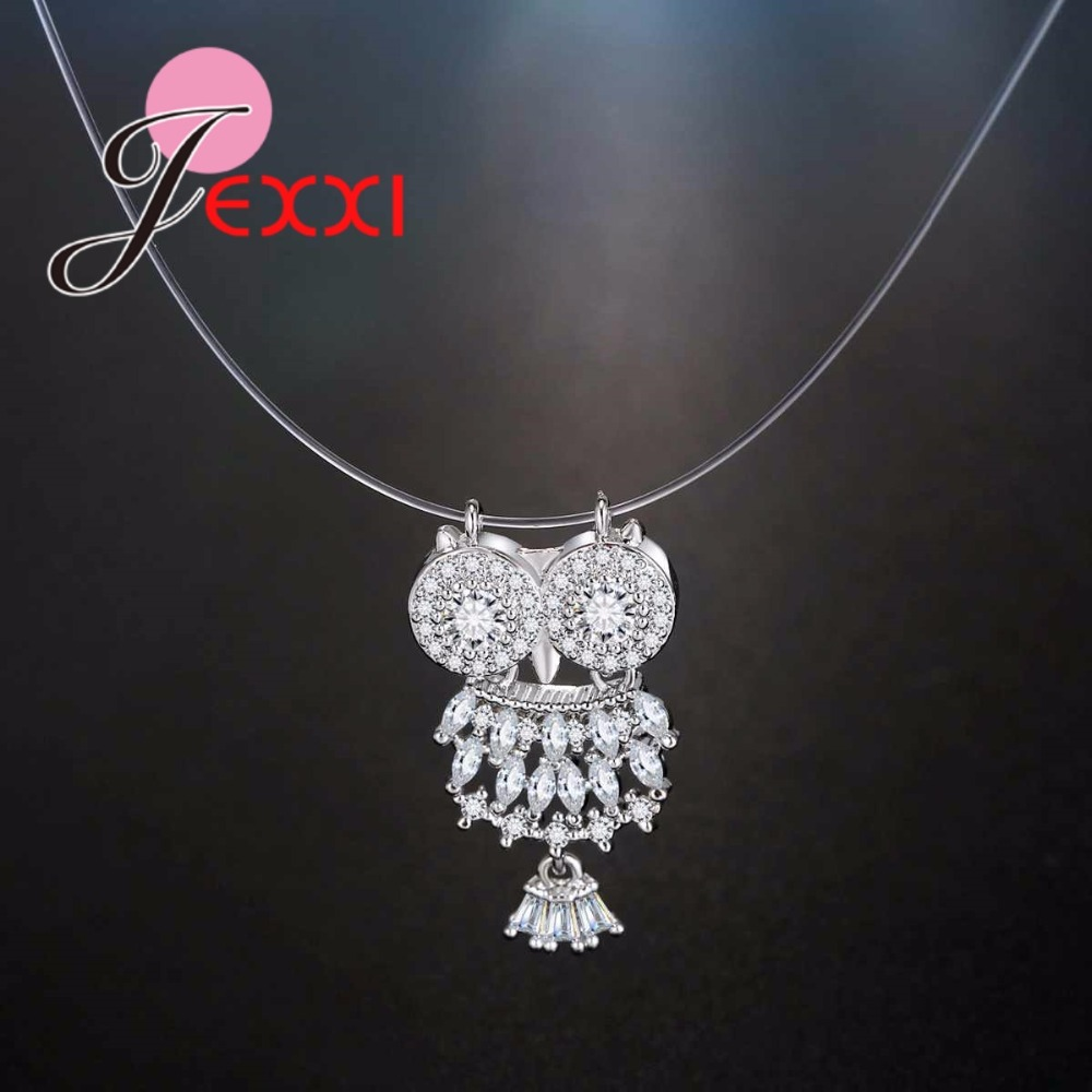 JEXXI 925 Sterling Silver Dazzling Zircon Owl Pendants Necklace And Invisible Transparent Fishing Line Necklaces Jewelry