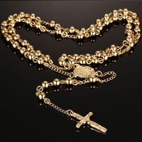 Men Woman Gold Silver 6MM Beads Rosary Catholic Necklaces With Medal Crucifix