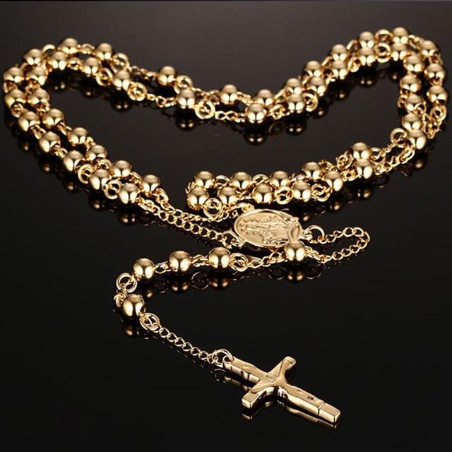 Men Women Vintage Rosary Beads Pendant Long Necklace