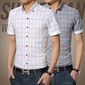 New Men Shirts Men Casual Plaid Shirt Short Sleeve Man Cotton Mandarin Collar Casual Slim Fit Shirts Plus Size 3XL 4XL 5XL