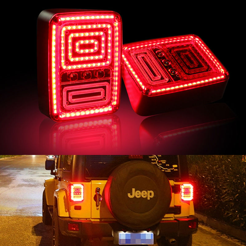 Car Tail Light Brake Light Turn signal Lamp Rear Running Lights For Jeep Wrangler JK 2007-2015 Black LED TailLight European US for jeep wrangler jk 2007 2016 tail light diamond smoke led tail light