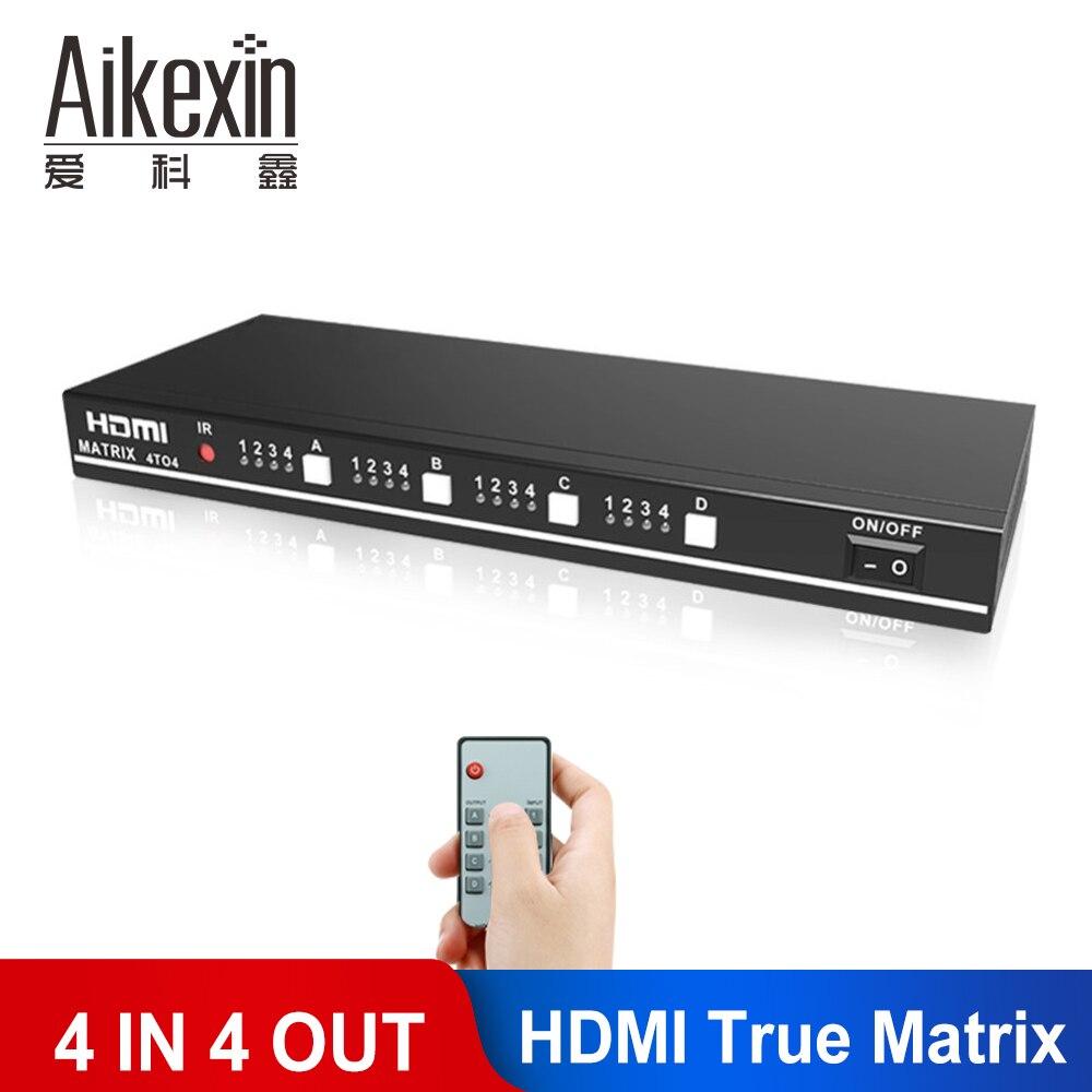 Aikexin hdmi divisor interruptor 4 entrada 4 ouput hdmi matriz verdadeira 4x4 apoio ir remoto rs232 interruptor 3d 1080 p hdmi matriz 4 em 4 para fora