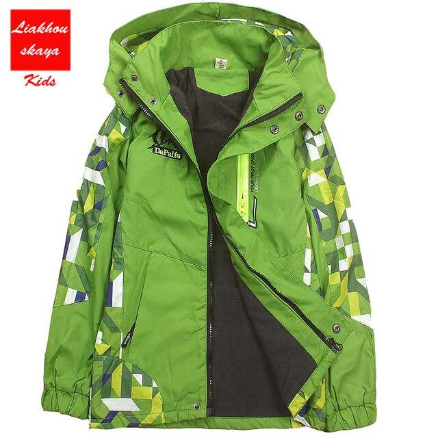 Весна Детская куртка для девочек верхняя одежда двухэтажных Водонепроницаемый ветрозащитные пальто с капюшоном для девочек От 4 до 15 лет Детская Спортивная ветровка