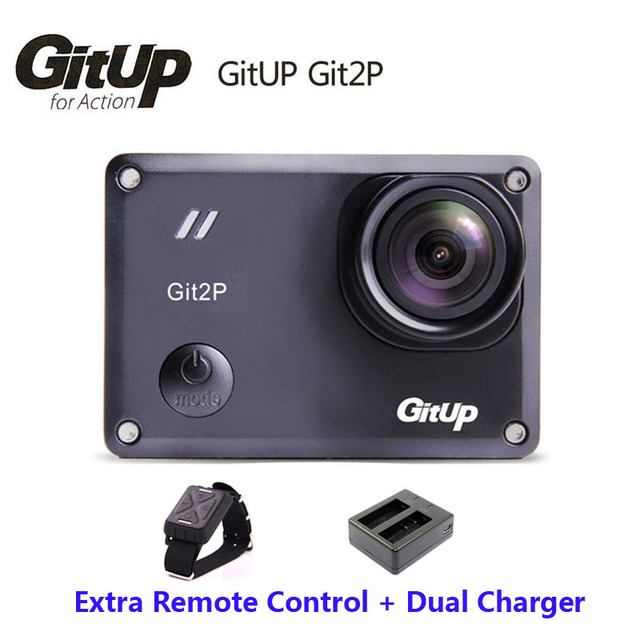 Original Gitup Git2P Mini Sports Camera Action 16M Ultra 2K  Bike Helmet Video Camcorder DV+Wrist Remote Control+Dual Charger