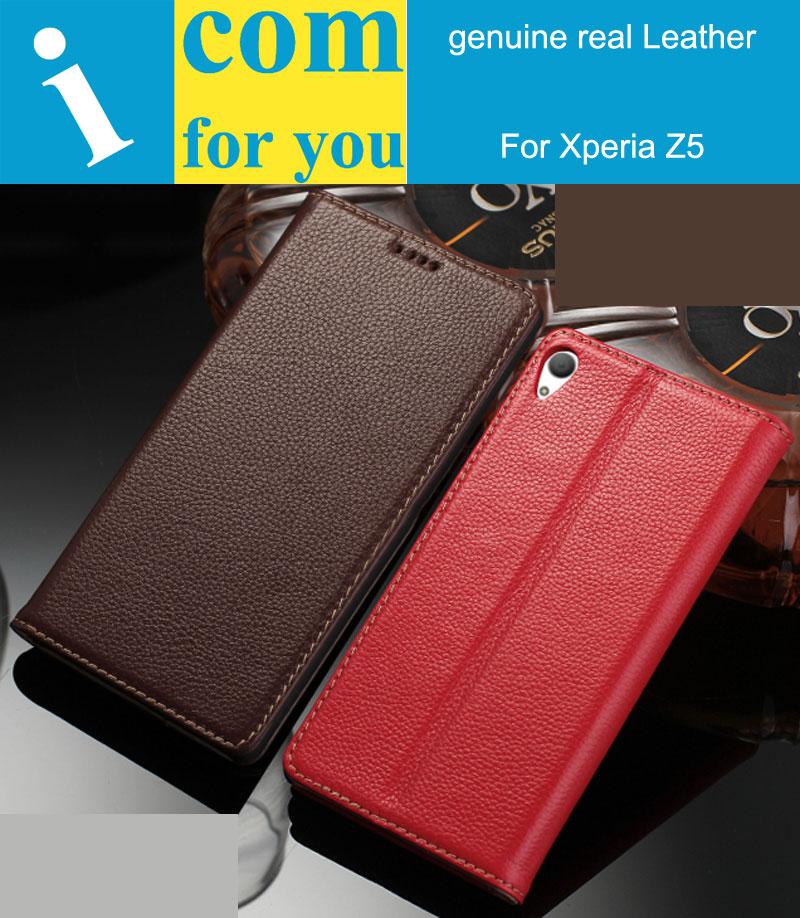 imágenes para Naturaleza real de cuero genuino flip case cubierta para sony xperia z5 premium