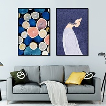 Nordic Decoration Home Minimalist Small Fresh Girl and Friut Ins Watercolor Illustration Canvas Painting for Bedroom Wall Art