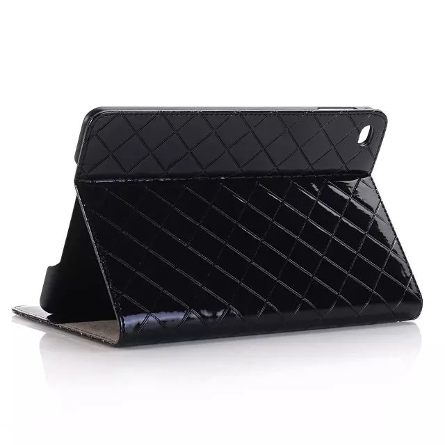 Fashion Grid Plaid Pattern Design Series Wallet Case for iPad mini 4 Folding Stand Holder Leather Case Cover with Card Cash Slot