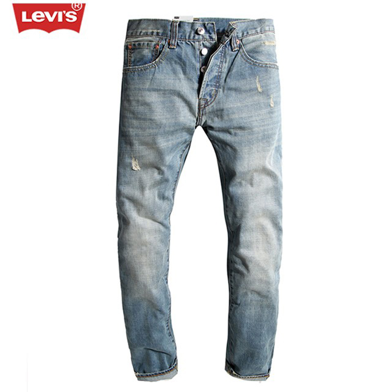 Levi's 501 Series Men Jeans Washed Pleated Scratched  Hole Denim Long Pants Casual Straight Full Length Trousers Women F307 men s casual pleated stretch denim biker jeans for moto pockets cargo pants slim long trousers