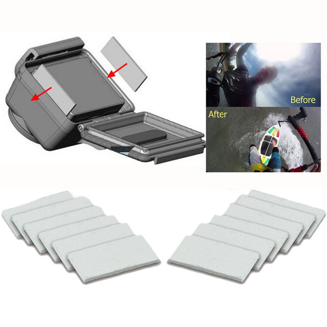 12Pcs Anti-Fog Inserts Recycle Anti Fog Drying Inserts for Go Pro Hero 4 3+ Xiaomi Yi Waterproof Housing Camera Accessories
