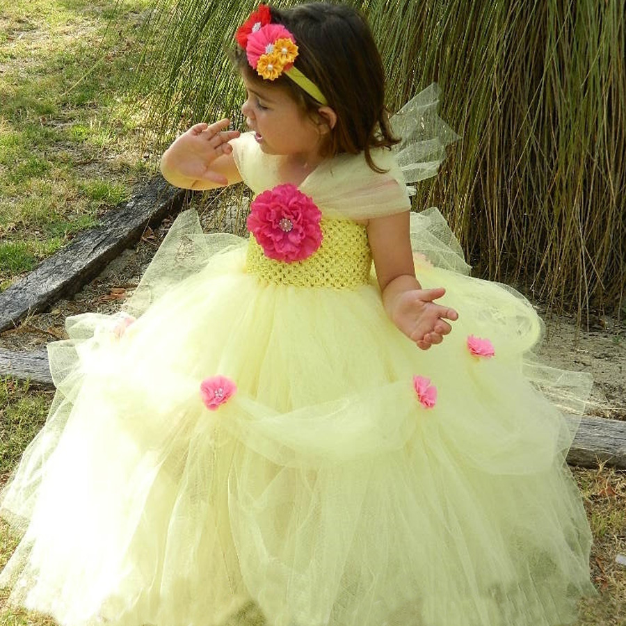 Yellow Princess Belle Tutu Dress The Beauty and the Beast Inspired Girls Birthday Party Dress Kids Photo Cosplay Costumes Vestidos (7)