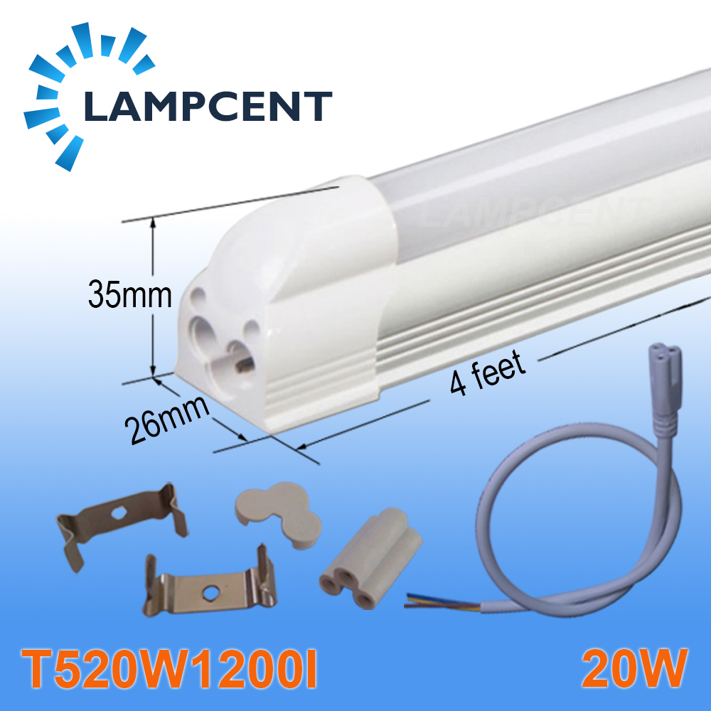 110/Pack LED Integrated Tube T5 Light 4FT 20W With Parts Ceiling Fixture 85-277V 4 pack free shipping t5 integrated led tube lights 5ft 150cm 24w lamp fixture with accessory milky clear cover 85 277v