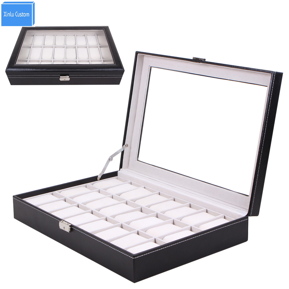 Large Leather 24 Grid Watch Display Case Acrylic Window Top Jewelry Box Organizer Watch Seller Must Boxes Collect Classic solid wood watch case organizer with mens 5 slots acrylic clear window display