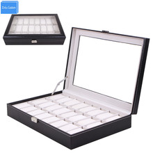 Large Leather 24 Grid Watch Display Case Acrylic Window Top Jewelry Box Organizer Watch Seller Must Boxes Collect Classic