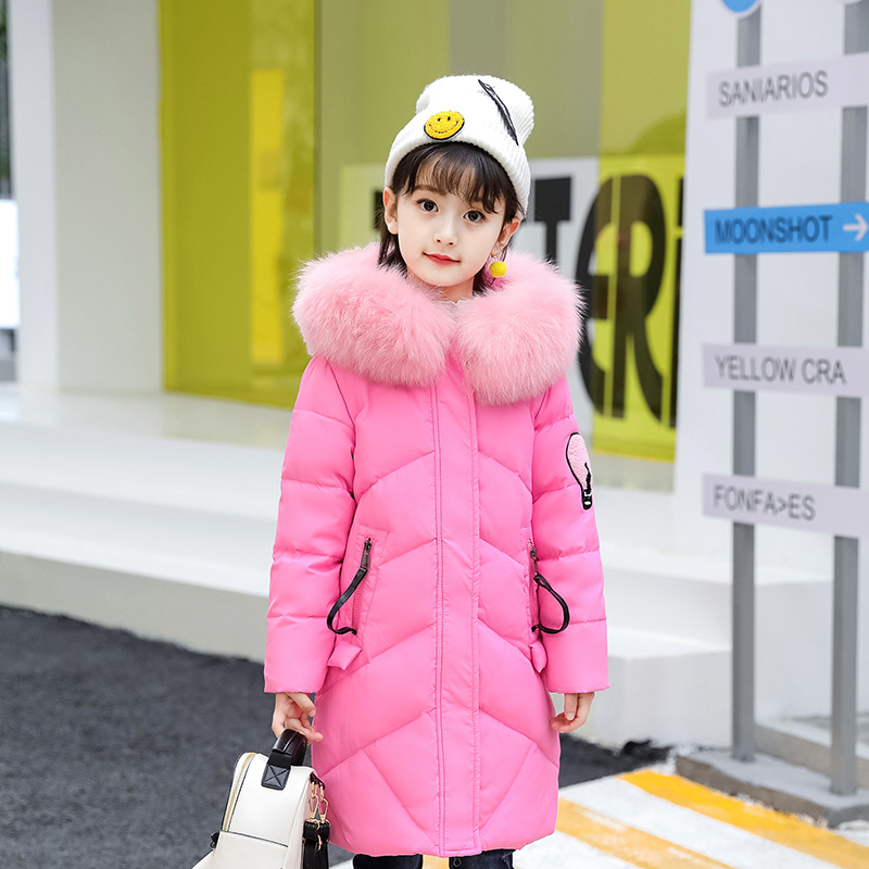 Down Jacket Girls Winter New Style Children with Long Thickening Baby's A Lively Girl Dressed Down Jacket In Park Happy To Play платья dressed in green платье